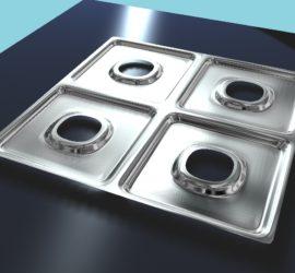 Jednorazowe aluminiowe podkładki na kuchenki gazowe.Patent